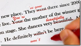 English sentences with red pen